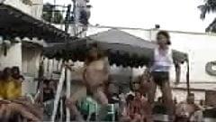 Thai girls dancing by the pool