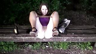 Girlfriend bench piss