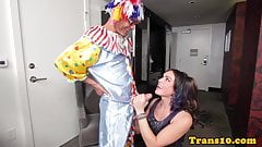 Beautiful tranny fucked by black clown