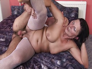 60+ Grandma enjoys dildo and young man's cock