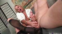 Stockings and high heels handjob