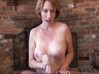 Her handjob milks his huge cream