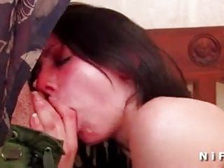 Sexy brunette hard banged and cum covered