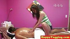 Oriental masseuse cocksucking client on spy cam