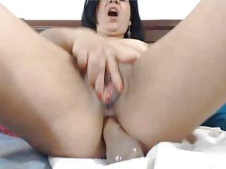 Latin MILF cums twice toying her ass