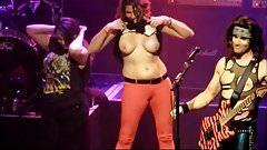 Concert girls flashing