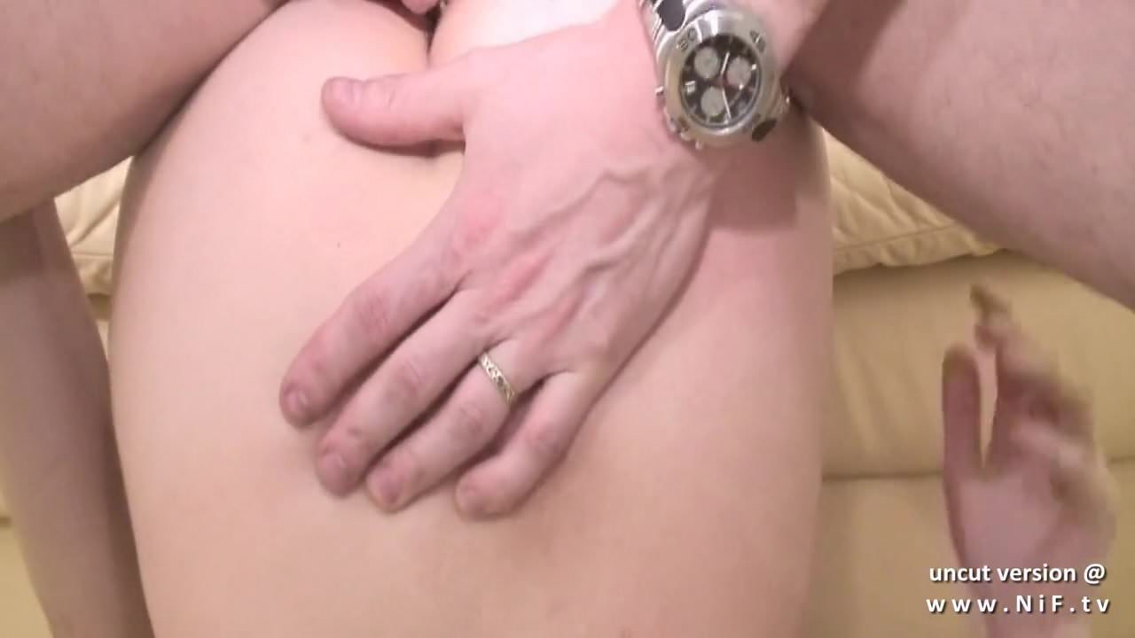 Pretty young french brunette ass nailed and cum covered