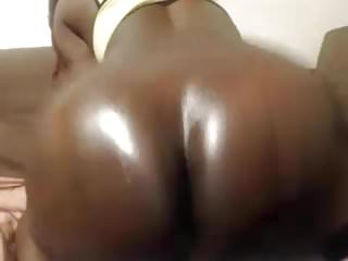 Black booty rides white dick on POV webcam