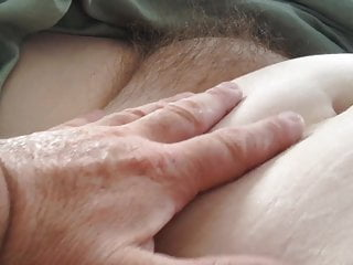 playing with my uncut cock & her hairy pussy, nipples,belly.