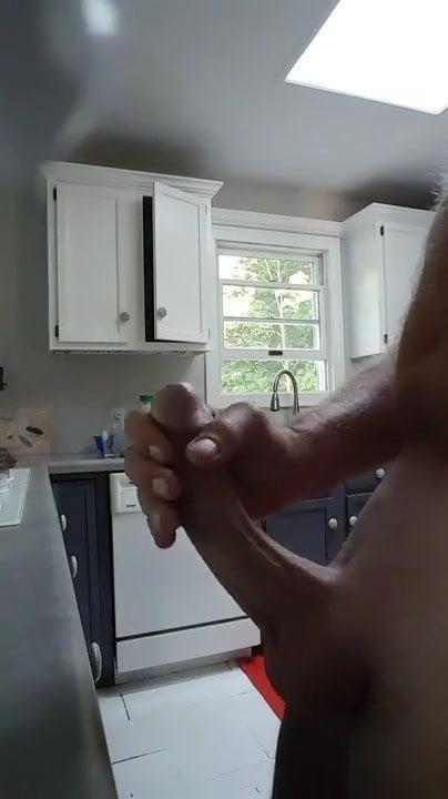 Mature dad flashes big cock