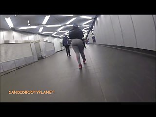 Candid Phat Booty Donk in Tight Pants Walking in Subway