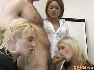 CFNM office femdom babes sucking cock