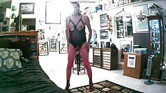 kevinstockings in pink fishnet, stilletto heels, and more