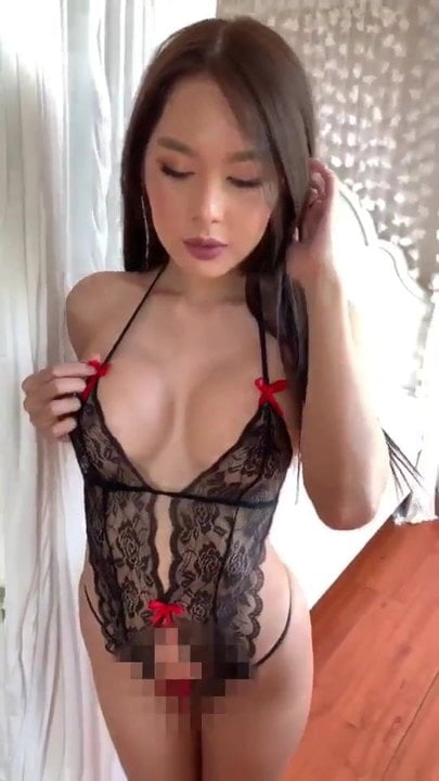 Slutty asian doing selfies in bikini 2