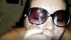 Sexy BBW sucks in sunglasses and gets cum covered (Preview)