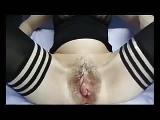 Enormously huge meat curtains and clit with hair pussy!