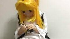 kigurumi playing with vibrator
