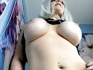 Big boobed catgirl does a striptease for you