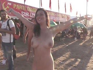 Beautiful girl nude on a festival