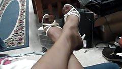 Pants, RHT stockings, red pantys, white heels, snd cum