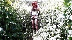 Horny Andrea jerks in the  field for Mistress Melanie