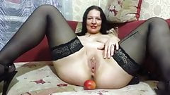 Big tits MILF fisting. Big toys in the wet hole