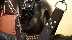 PVC breathplay hood standing bondage