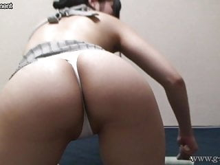 Downblouse and Wedgie Japanese Girl Cleaning Her Room