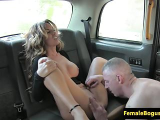 Busty uk cabbie doggystyled by her passenger