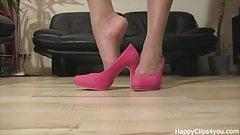 Pink high heels foot fetish video