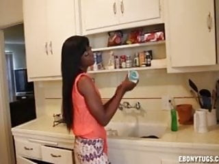 Preview 1 of Hot Ebony Babe Jerks A Dick