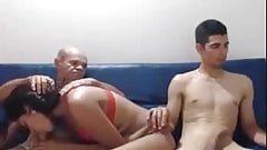 father and son fucking a girl