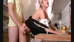 German babe get fucked in the kitchen