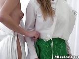 Pussy licking Mormon babes enjoy a sensual threesome
