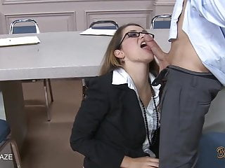 Brunette With Glasses Gets Fucked Up The Skirt