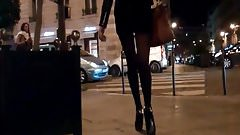 in Mini Skirt Tights and Hot High Heels