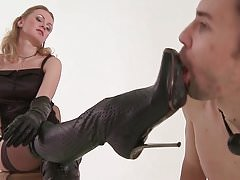 Young blonde Lady Whipping, Trampling young Boy