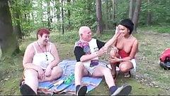 Hot babe joins grandma and grandpa