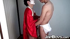 Twink in costume banged after blowing Asian dick