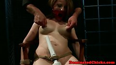 Busty babe dominated while tied up