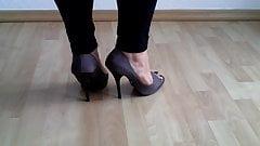 Taupe BUFFALO Peeptoe Heels - Part 1 Modelling