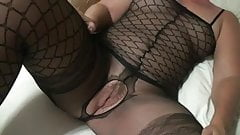 Shy wife shows off her sexyness in black lingerie