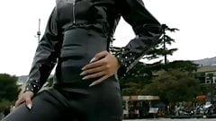 Russian blonde oksana in tight latex leggings