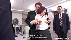 Japanese brunette, Yuri Kawana signs a contract after fuckin