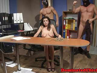Busty babe dominated in front of her friends