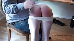Young girl spanked in front of a group of older men,