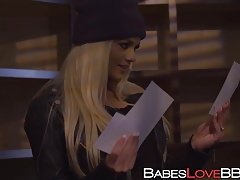 Cute babe Elsa Jean jumps on black prick and rides it wildly