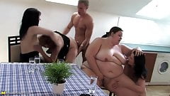Amazing group fuck with various sized mature moms