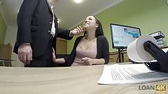 LOAN4K. Serious loan agent drills asshole of pretty brunette
