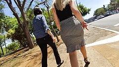 Super hot milf ass in sexy skirt high heels candid